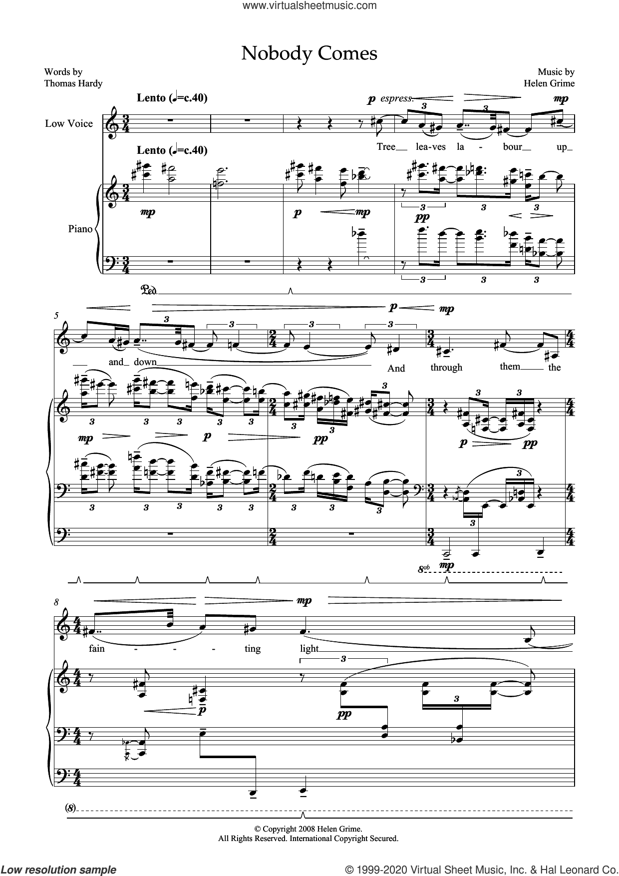 Nobody Comes (for low voice and piano) sheet music for voice and piano by Helen Grime and Thomas Hardy, classical score, intermediate skill level