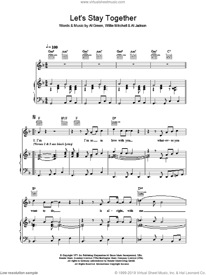 Let's Stay Together sheet music for voice, piano or guitar by Al Green, Al Jackson and Willie Mitchell, intermediate skill level