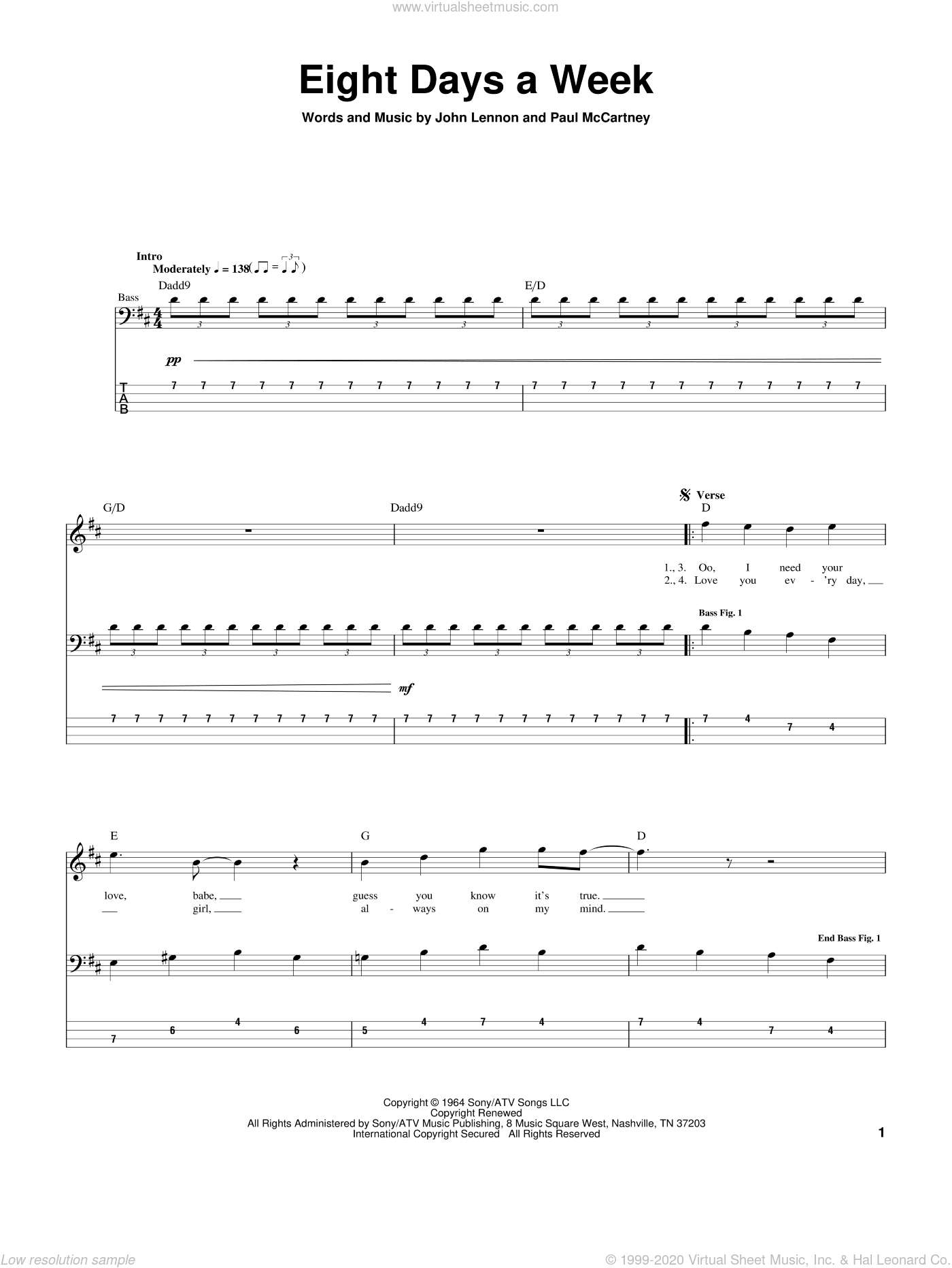 Eight Days A Week sheet music for bass (tablature) (bass guitar) by The Beatles, John Lennon and Paul McCartney. Score Image Preview.