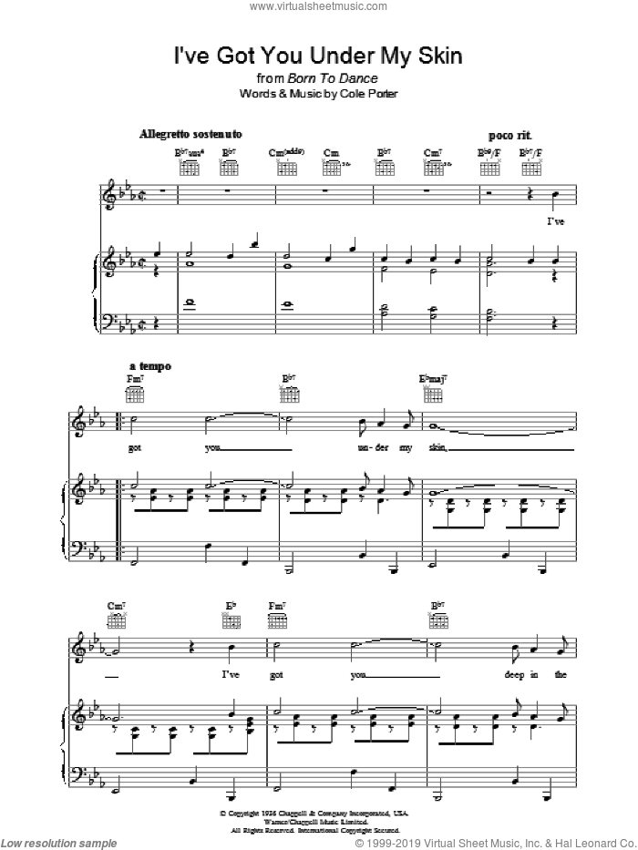 I've Got You Under My Skin sheet music for voice, piano or guitar by Cole Porter. Score Image Preview.