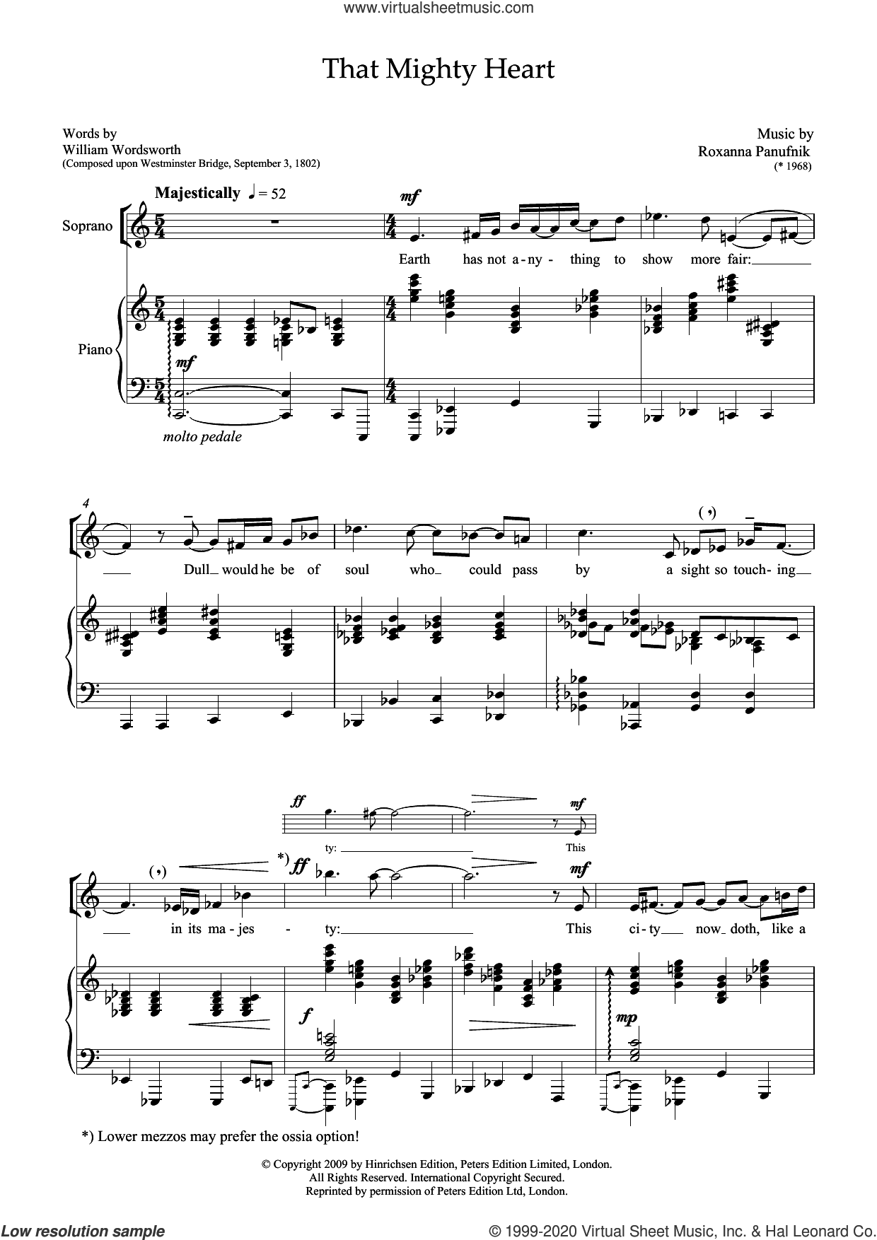 That Mighty Heart (for soprano and piano) sheet music for voice and piano by Roxanna Panufnik and William Wordsworth, classical score, intermediate skill level