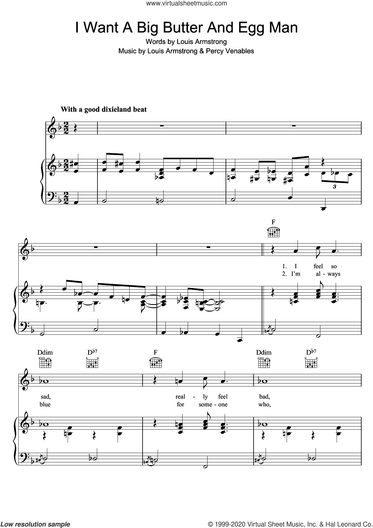 I Want A Big Butter And Egg Man sheet music for voice, piano or guitar by Louis Armstrong and Percy Venables, intermediate skill level
