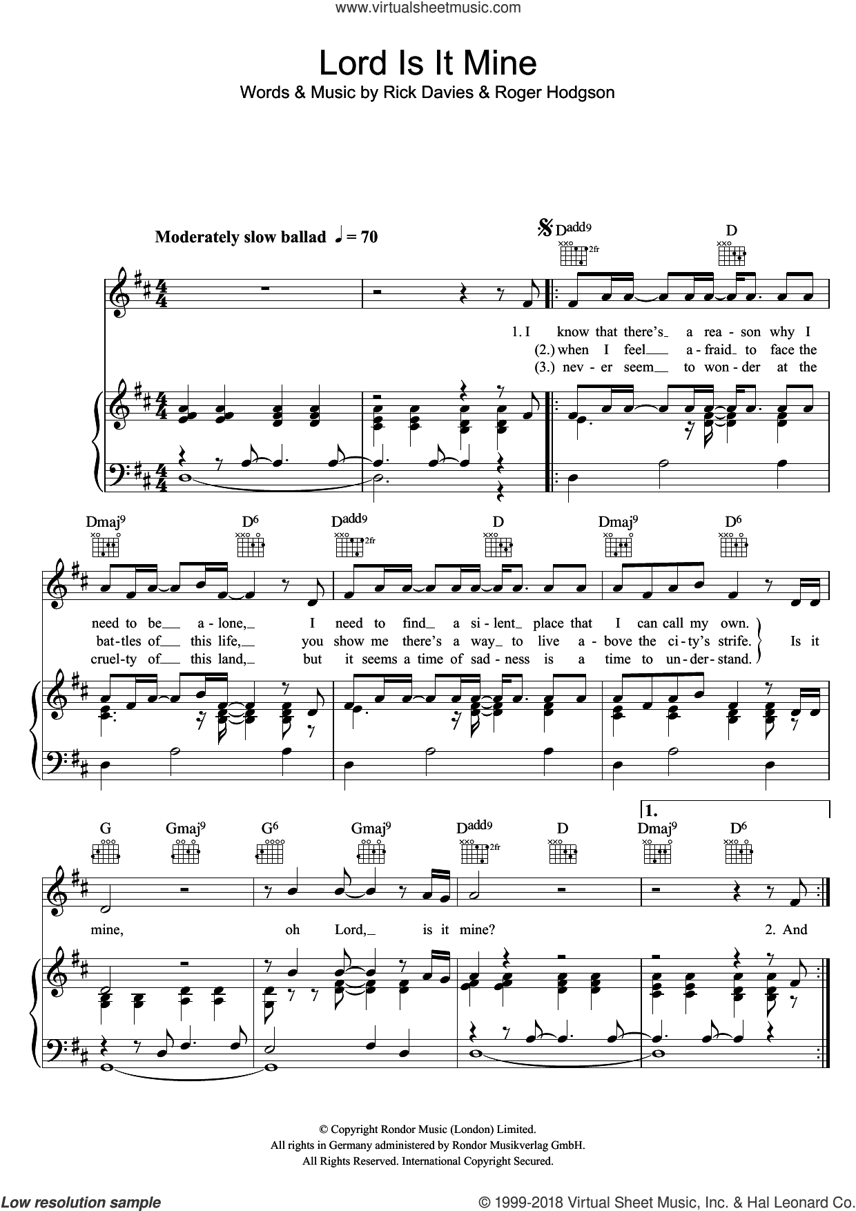 Lord Is It Mine sheet music for voice, piano or guitar by Supertramp, Rick Davies and Roger Hodgson, intermediate skill level