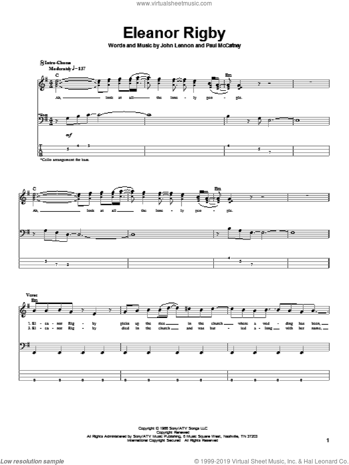 Eleanor Rigby sheet music for bass (tablature) (bass guitar) by The Beatles, John Lennon and Paul McCartney, intermediate skill level