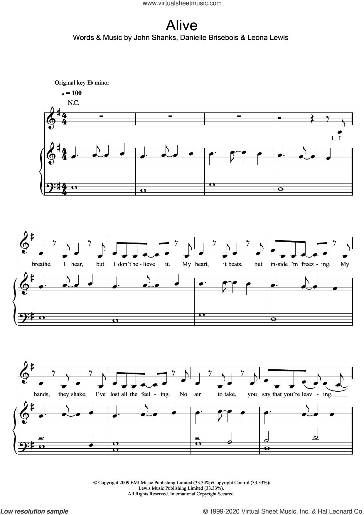 Alive sheet music for voice, piano or guitar by Leona Lewis, Danielle Brisebois and John Shanks, intermediate skill level