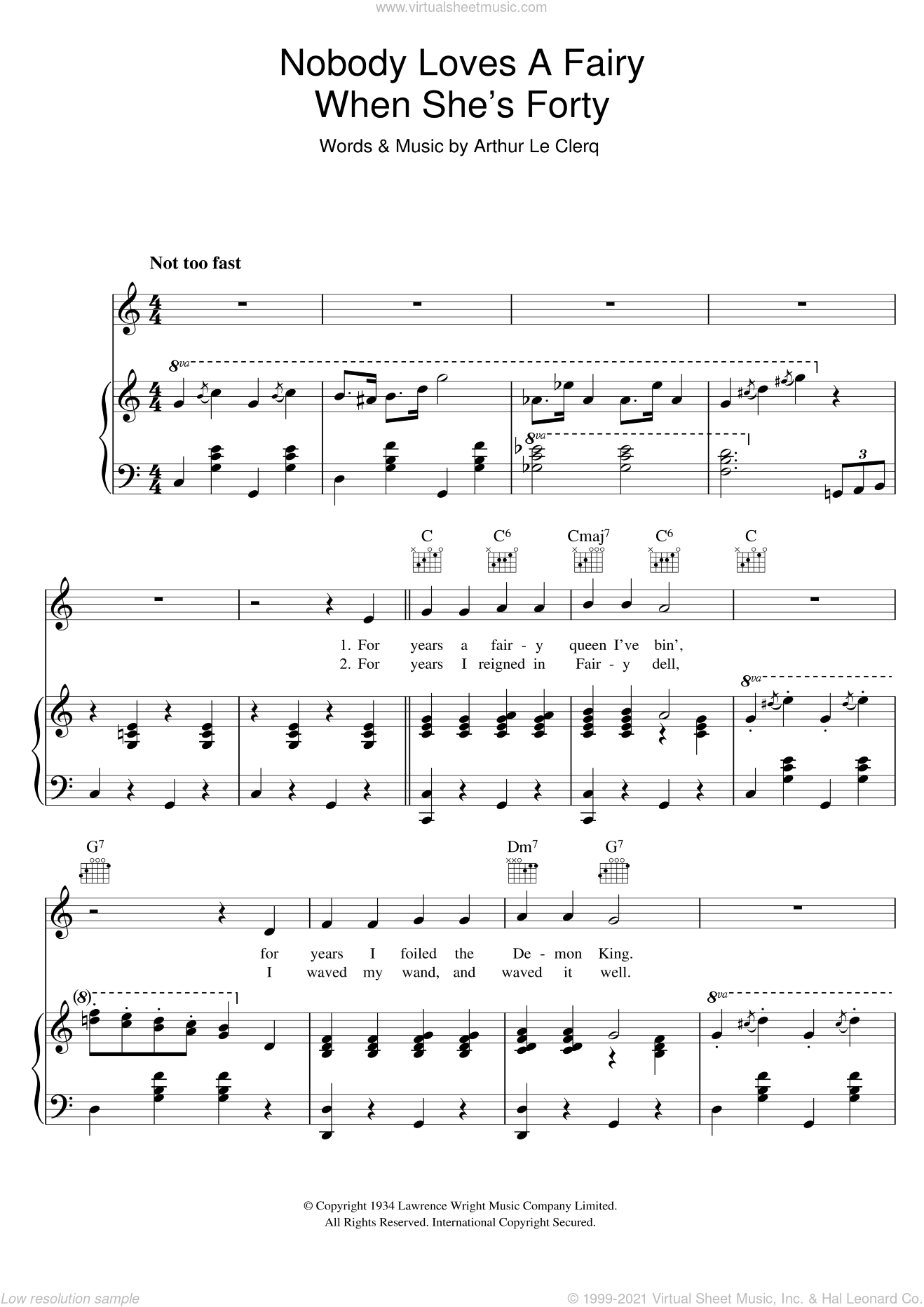 Nobody Loves A Fairy When She's Forty sheet music for voice, piano or guitar by Billy Cotton and Arthur Le Clerq, intermediate