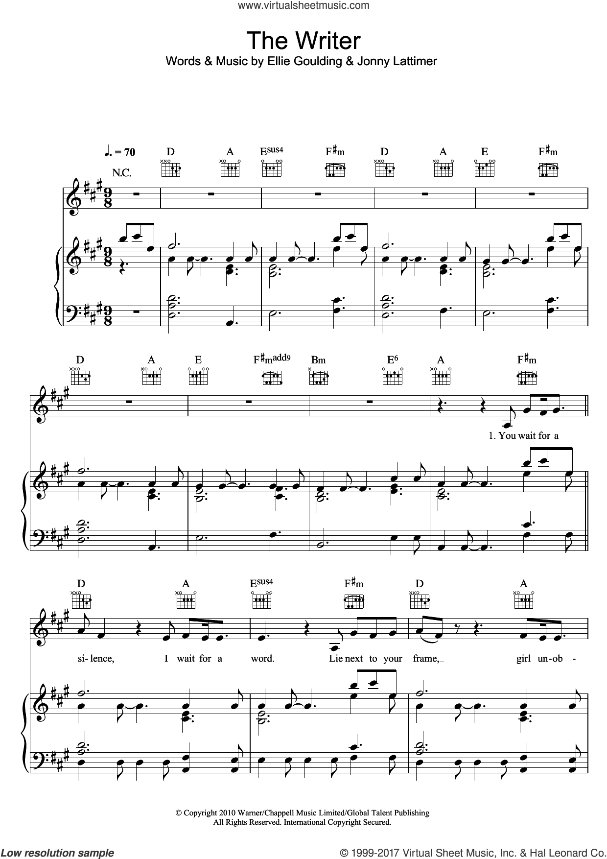 The Writer sheet music for voice, piano or guitar by Jonny Lattimer and Ellie Goulding. Score Image Preview.