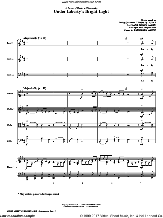 Under Liberty's Bright Light (COMPLETE) sheet music for orchestra by Franz Joseph Haydn