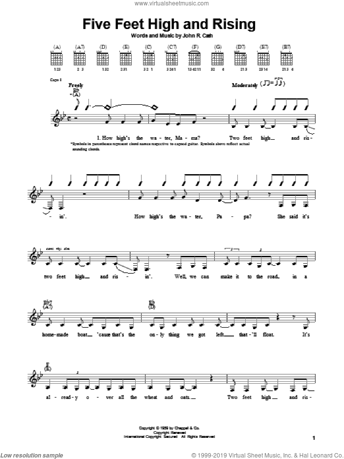 Five Feet High And Rising sheet music for guitar solo (chords) by Johnny Cash, easy guitar (chords)