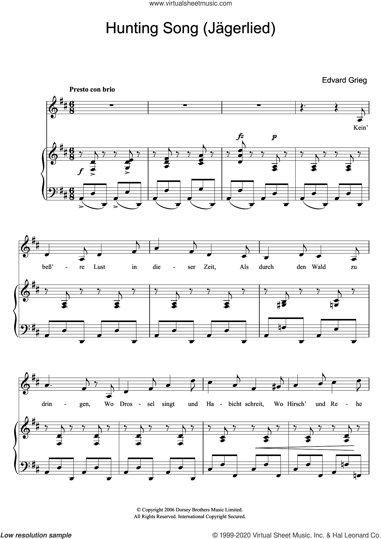 Hunting Song (Jagerlied) sheet music for voice and piano by Edvard Grieg, classical score, intermediate skill level