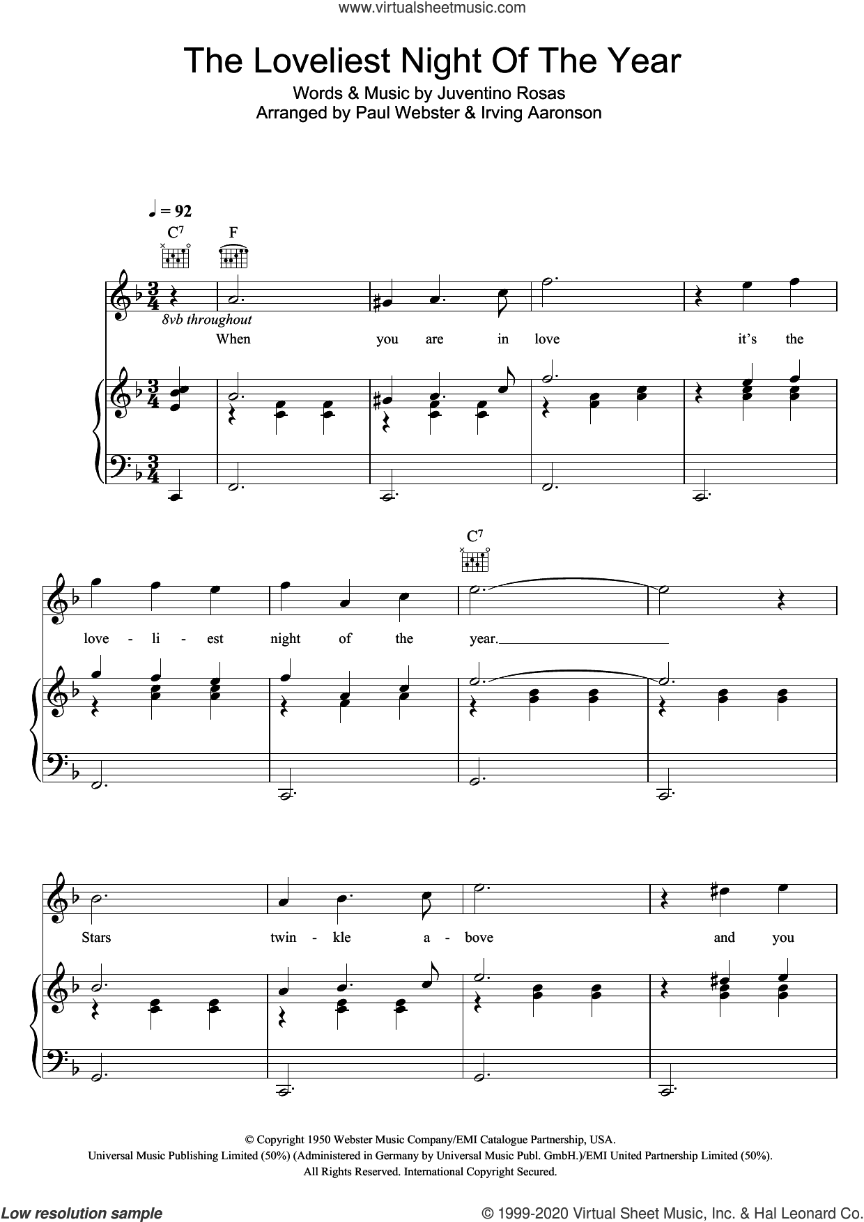 The Loveliest Night Of The Year sheet music for voice, piano or guitar by Vera Lynn and Juventino Rosas, intermediate skill level