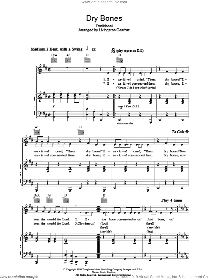 Dry Bones sheet music for voice, piano or guitar. Score Image Preview.