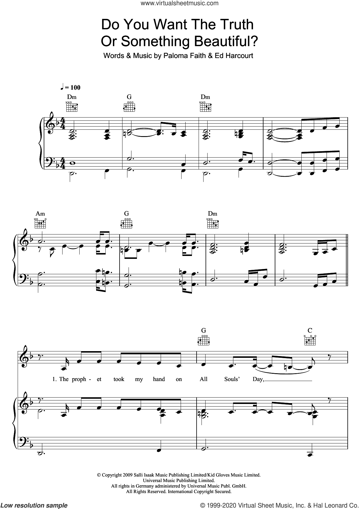 Do You Want The Truth Or Something Beautiful? sheet music for voice, piano or guitar by Paloma Faith and Ed Harcourt, intermediate skill level