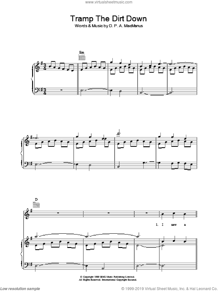 Tramp The Dirt Down sheet music for voice, piano or guitar by Elvis Costello, intermediate voice, piano or guitar. Score Image Preview.