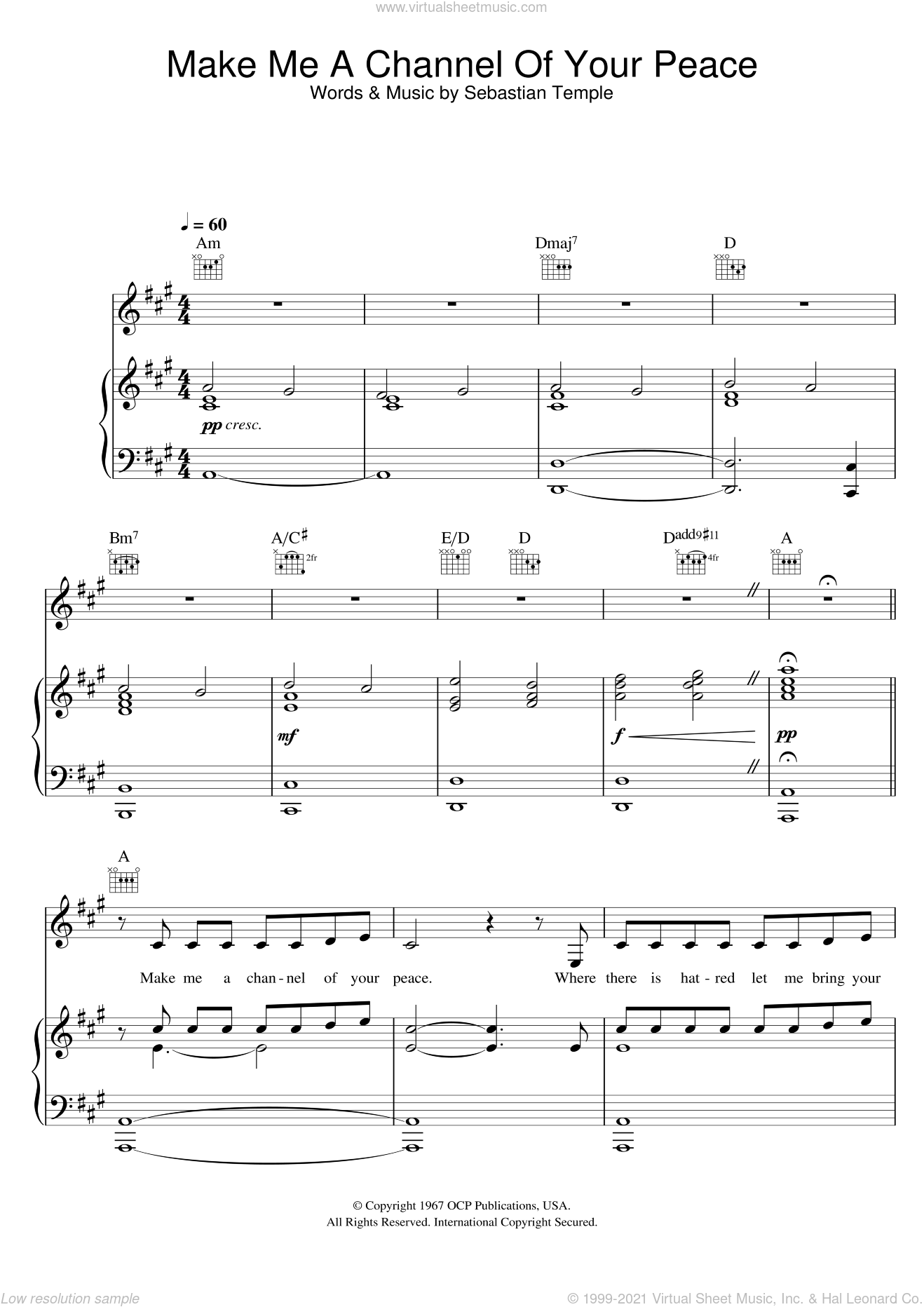 Make Me A Channel Of Your Peace (Prayer Of St. Francis) sheet music for voice, piano or guitar by Susan Boyle and Sebastian Temple, intermediate skill level