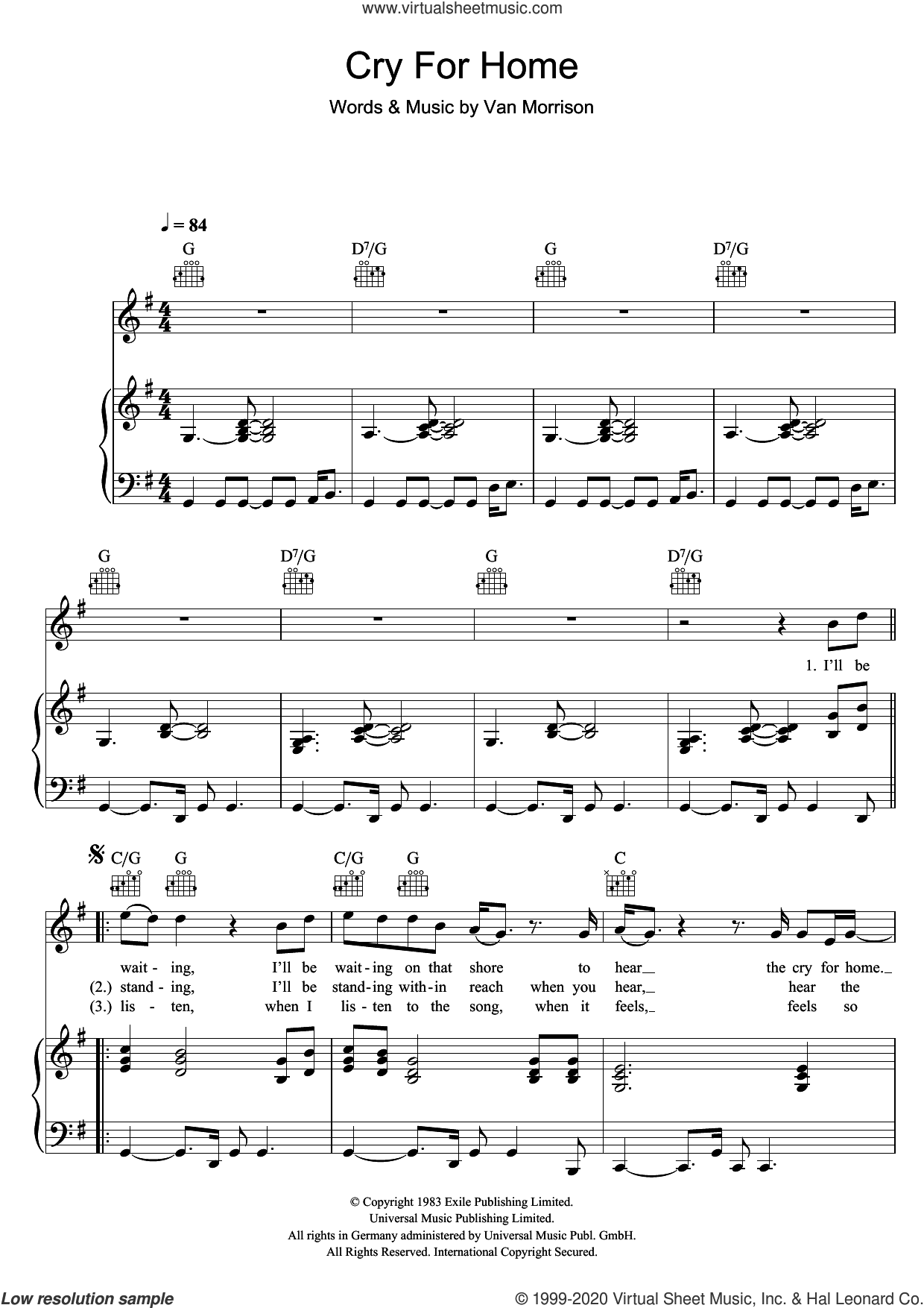 Cry For Home sheet music for voice, piano or guitar by Van Morrison, intermediate skill level