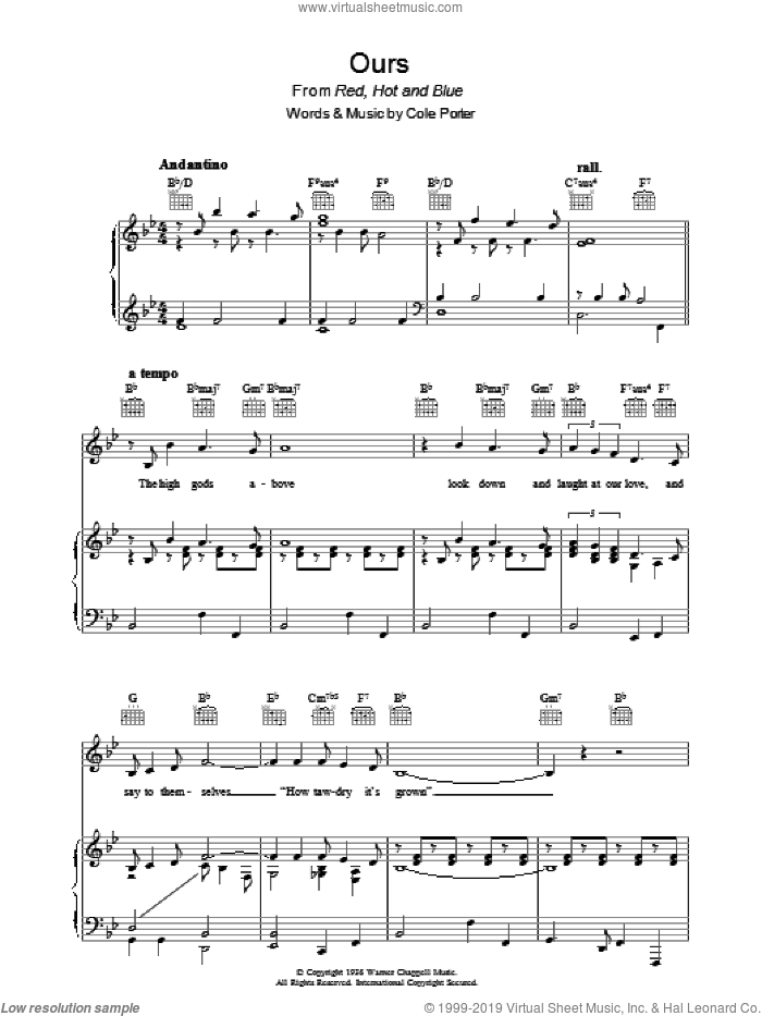Ours sheet music for voice, piano or guitar by Cole Porter, intermediate skill level