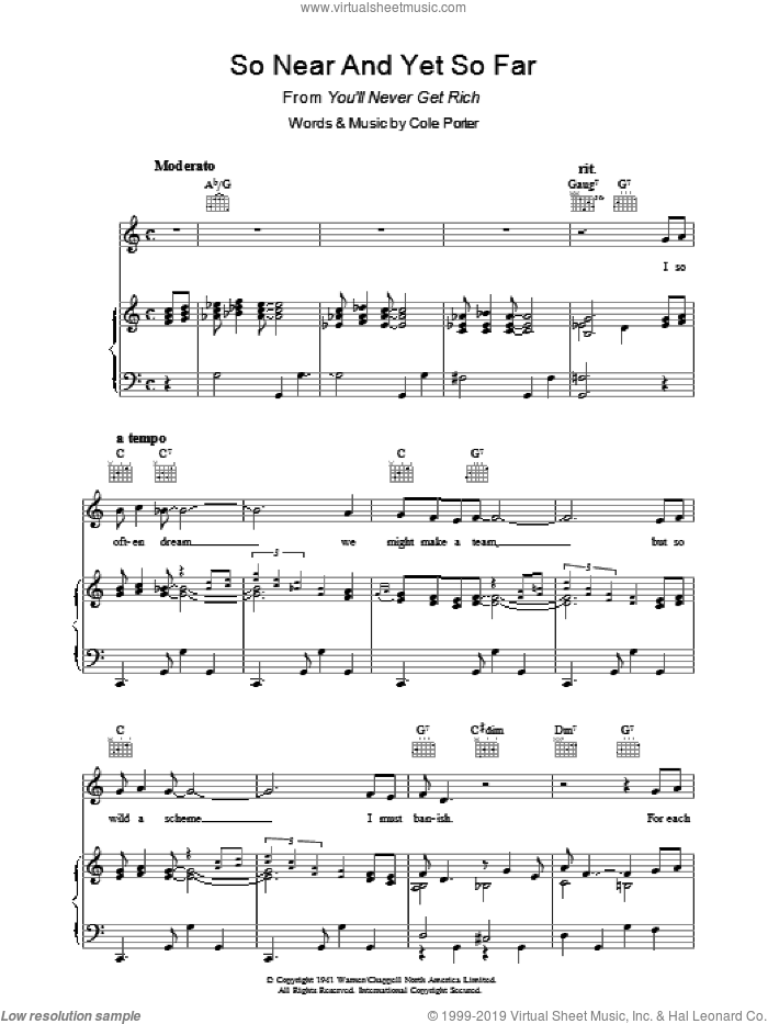 So Near And Yet So Far sheet music for voice, piano or guitar by Cole Porter