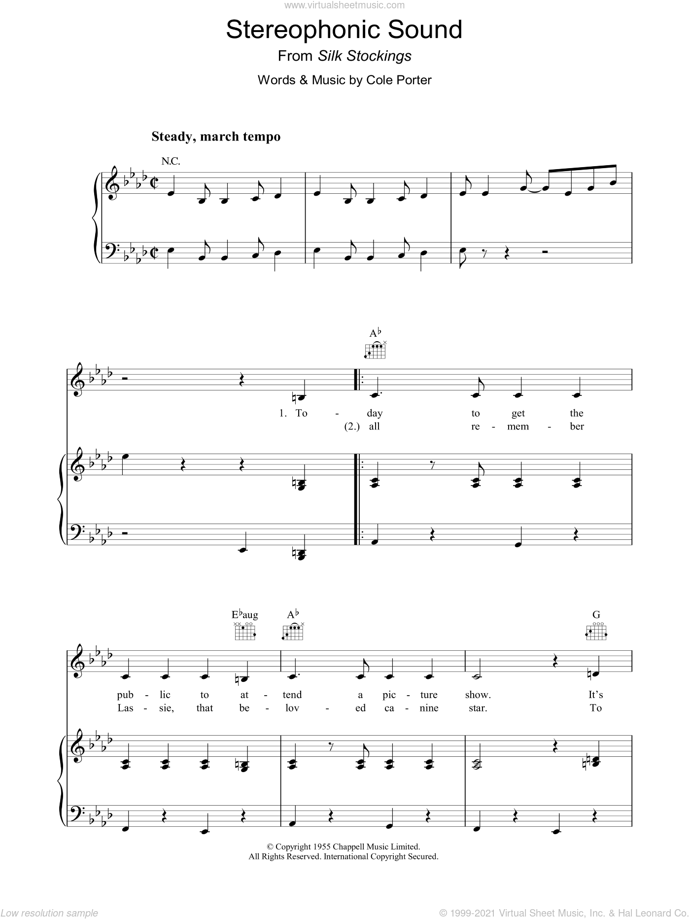 Stereophonic Sound sheet music for voice, piano or guitar by Cole Porter, intermediate. Score Image Preview.