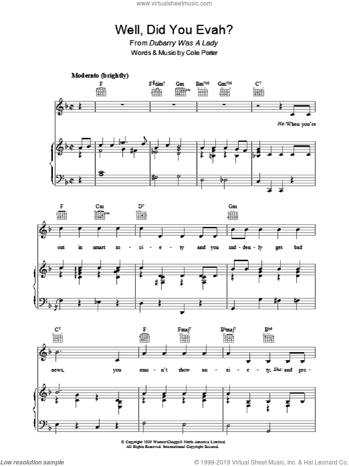 Well, Did You Evah? sheet music for voice, piano or guitar by Cole Porter. Score Image Preview.