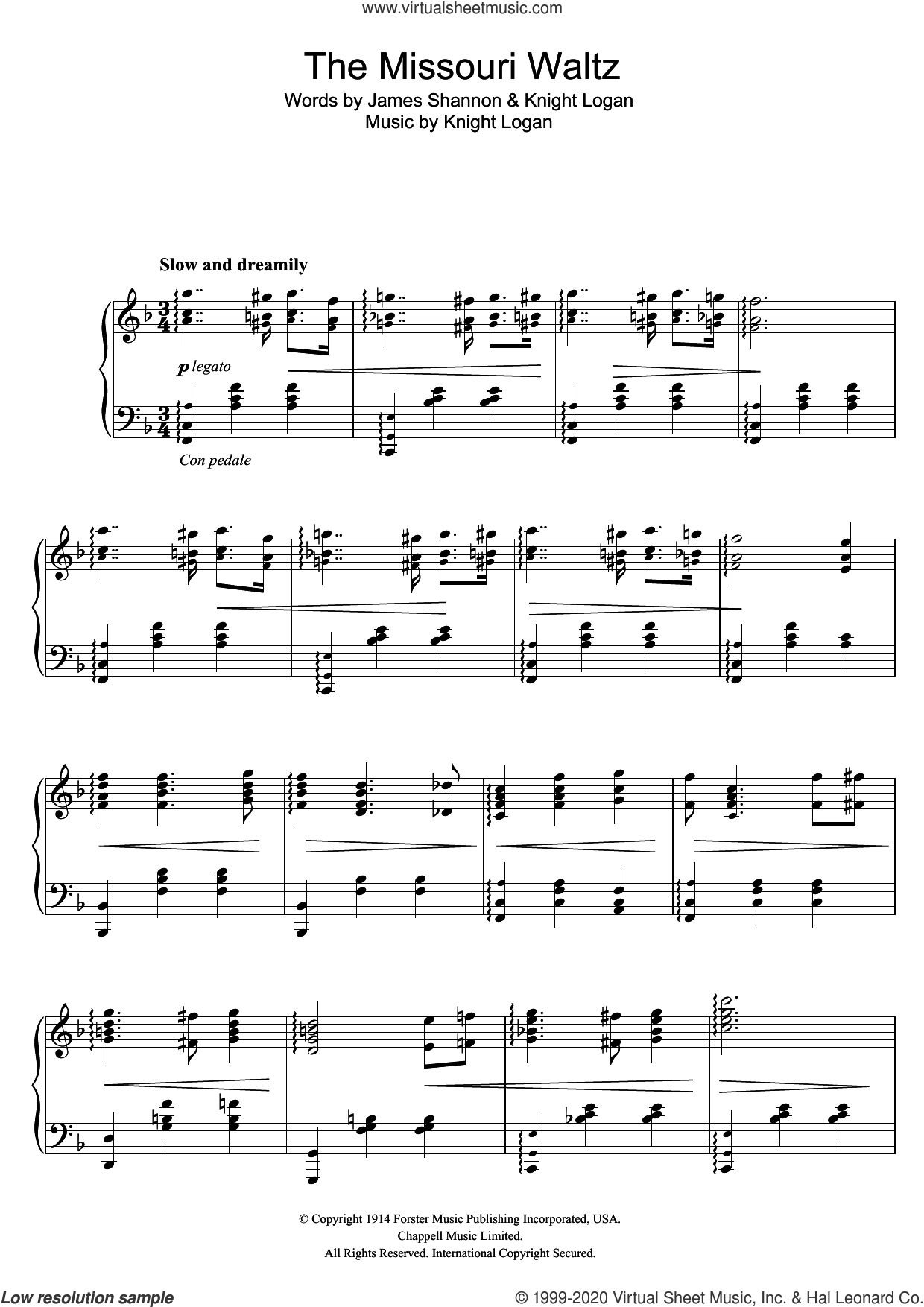 The Missouri Waltz sheet music for piano solo by Glenn Miller, James Shannon and Knight Logan, intermediate skill level