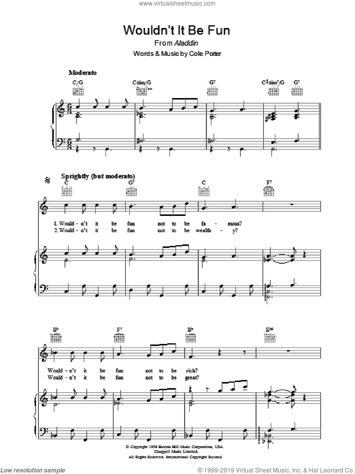 Wouldn't It Be Fun? sheet music for voice, piano or guitar by Cole Porter. Score Image Preview.