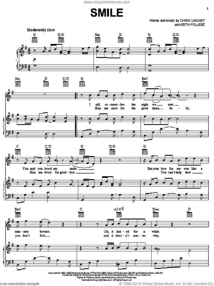 Smile sheet music for voice, piano or guitar by Lonestar, Chris Lindsey and Keith Follese, intermediate skill level