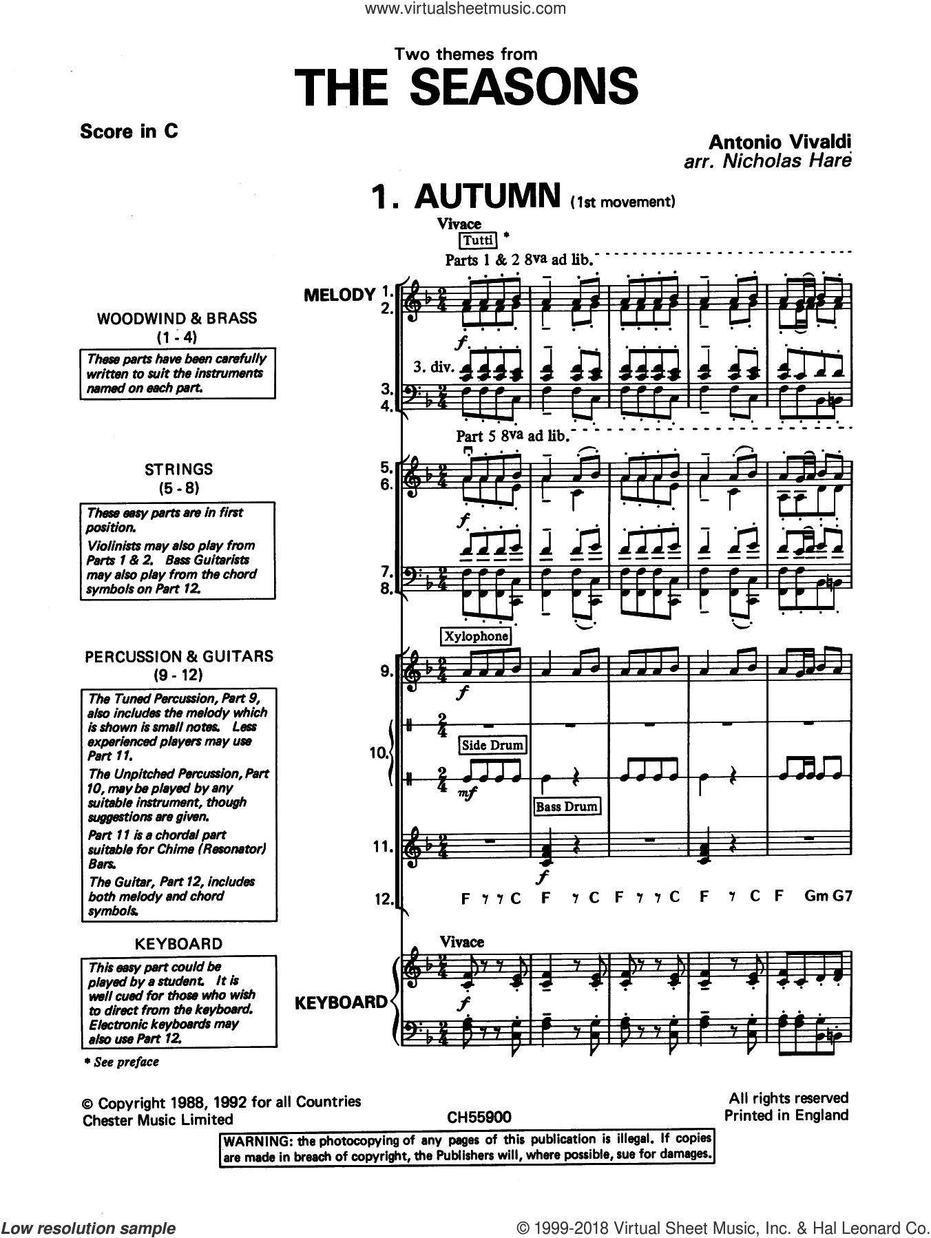 Autumn and Winter (from The Four Seasons) sheet music for band (classroom band pack) by Antonio Vivaldi, classical score, intermediate skill level