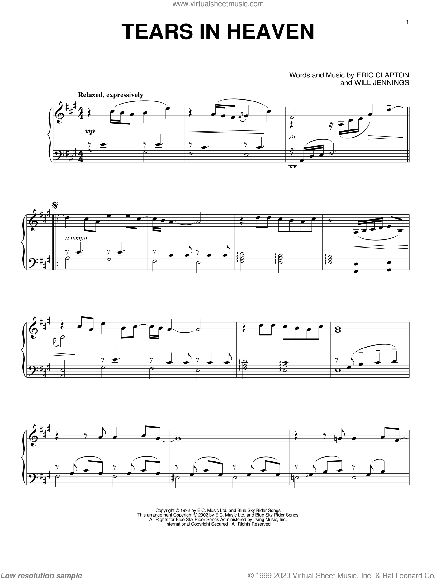 Tears In Heaven sheet music for piano solo by Eric Clapton and Will Jennings. Score Image Preview.