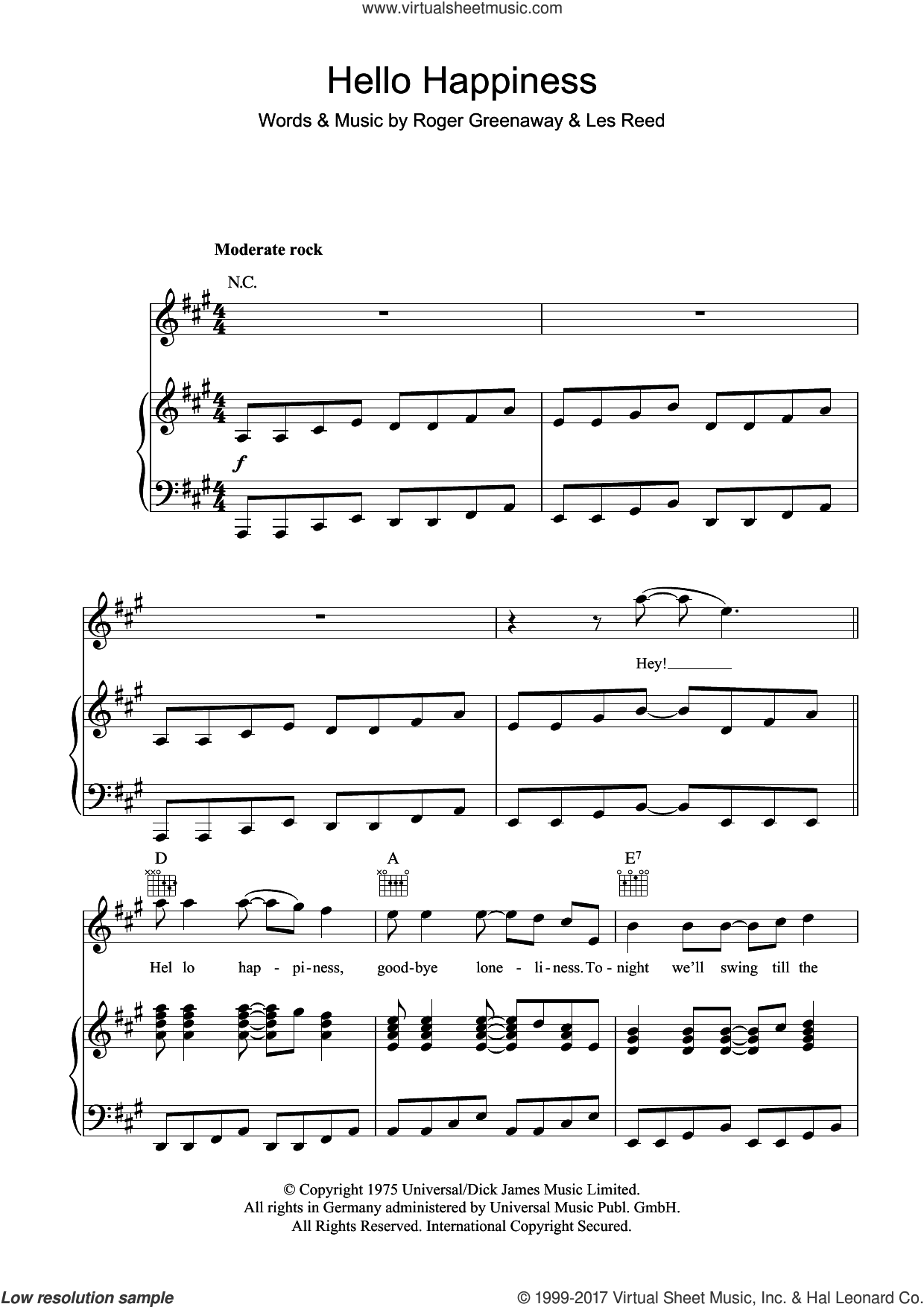 Hello Happiness sheet music for voice, piano or guitar by The Drifters, Les Reed and Roger Greenaway, intermediate. Score Image Preview.
