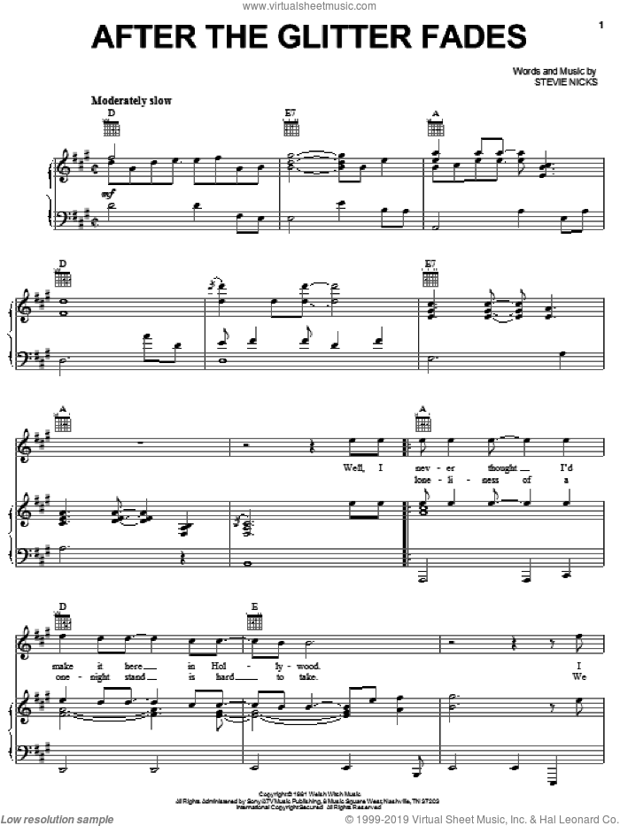 After The Glitter Fades sheet music for voice, piano or guitar by Stevie Nicks, intermediate skill level