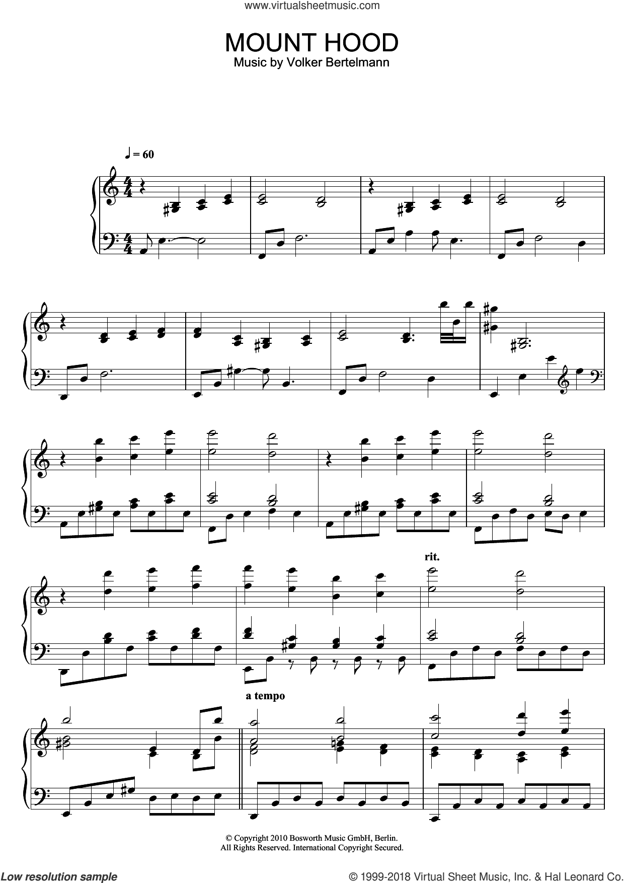Mount Hood sheet music for piano solo by Hauschka and Volker Bertelmann, classical score, intermediate skill level