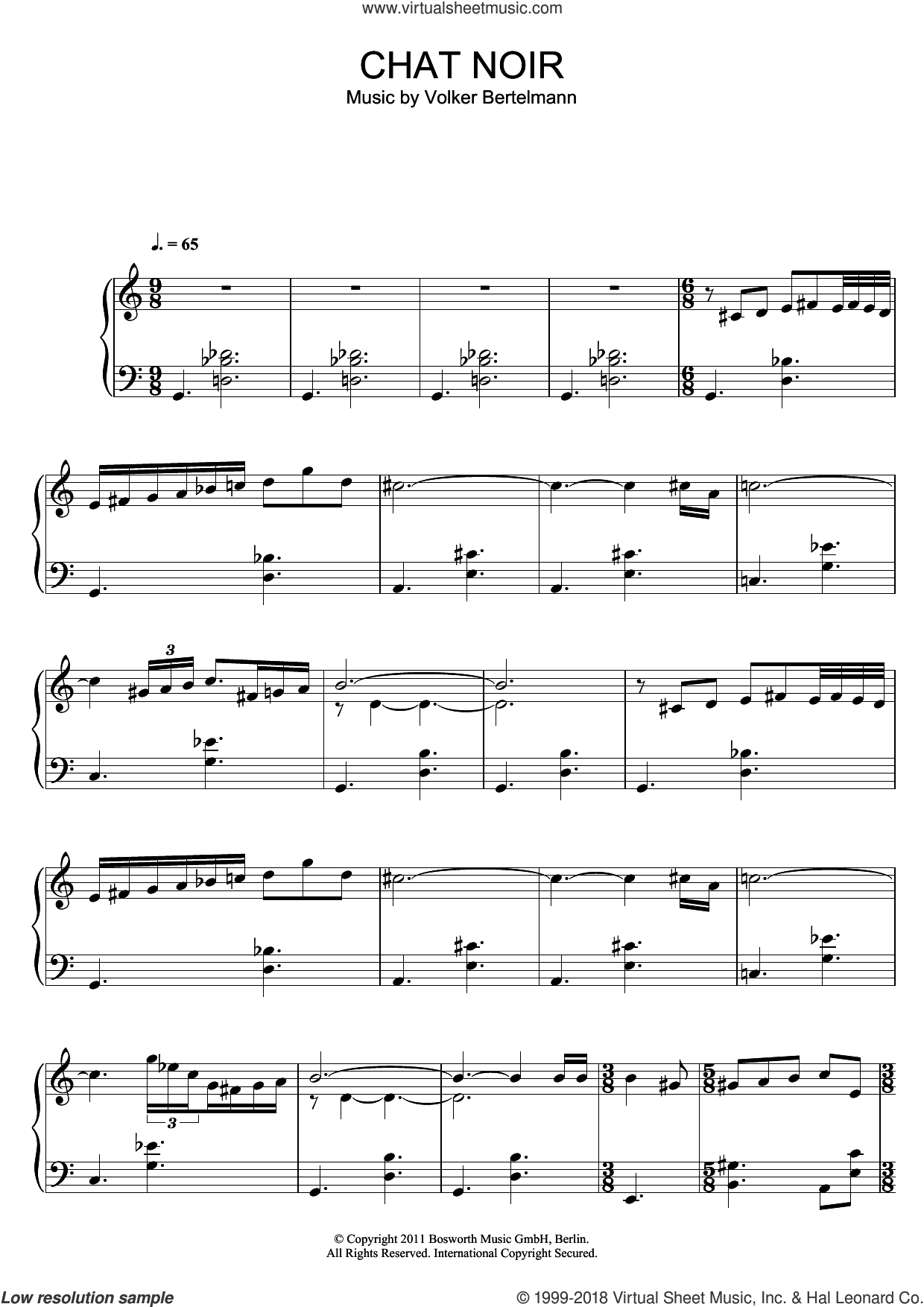 Chat Noir sheet music for piano solo by Hauschka and Volker Bertelmann, classical score, intermediate skill level