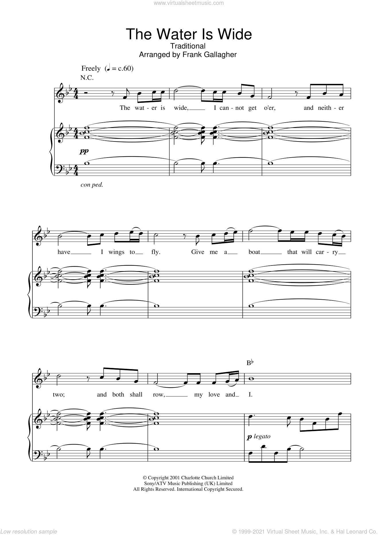 The Water Is Wide sheet music for voice, piano or guitar by Charlotte Church and Miscellaneous, intermediate skill level