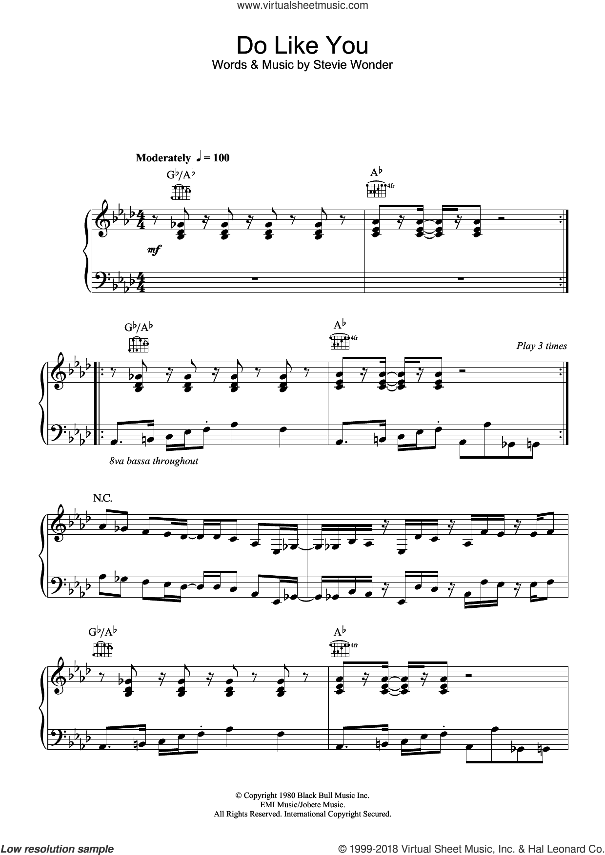 Wonder - Do Like You sheet music for voice, piano or guitar [PDF]