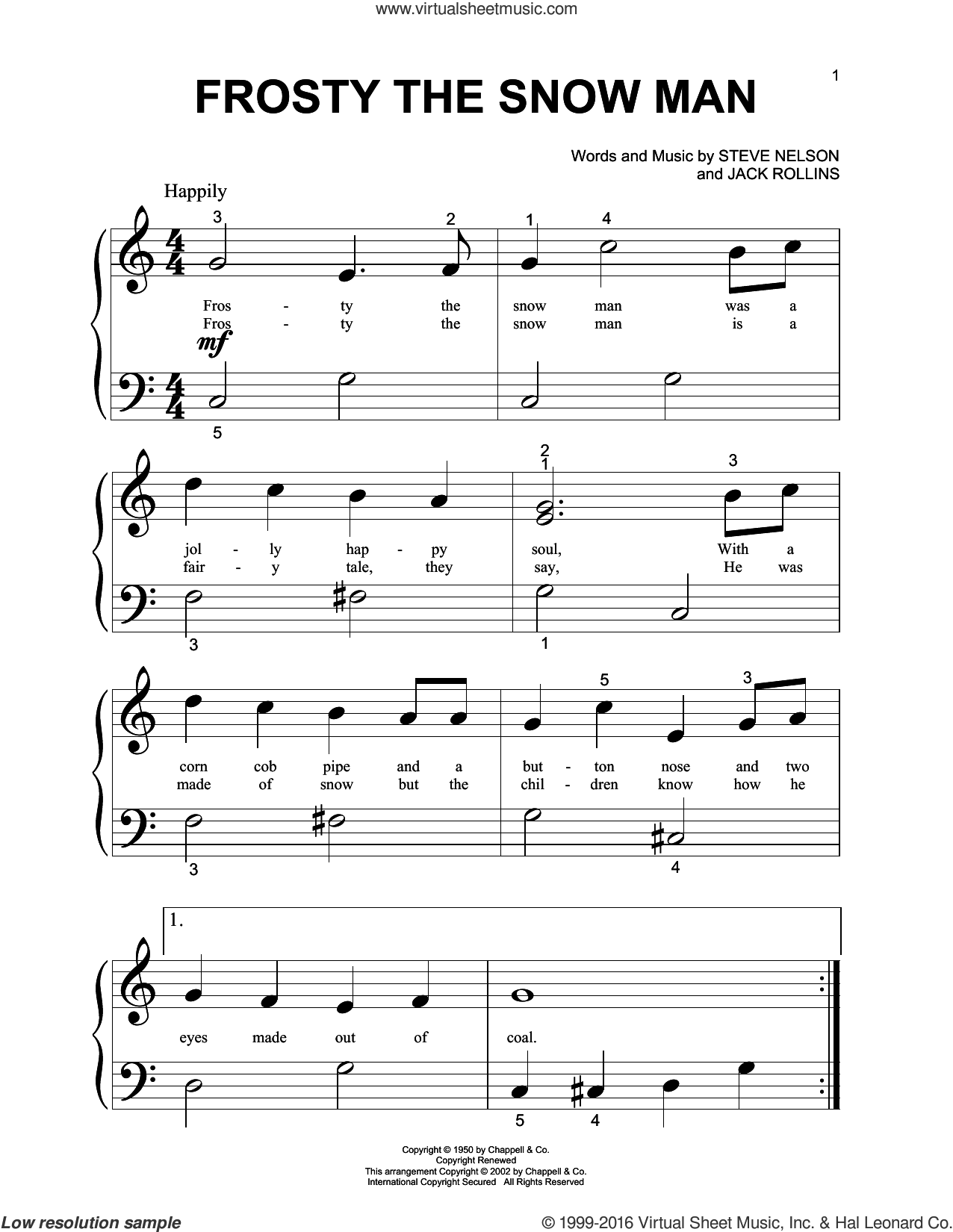 Frosty The Snow Man sheet music for piano solo (big note book) by Steve Nelson, Gene Autry and Jack Rollins. Score Image Preview.