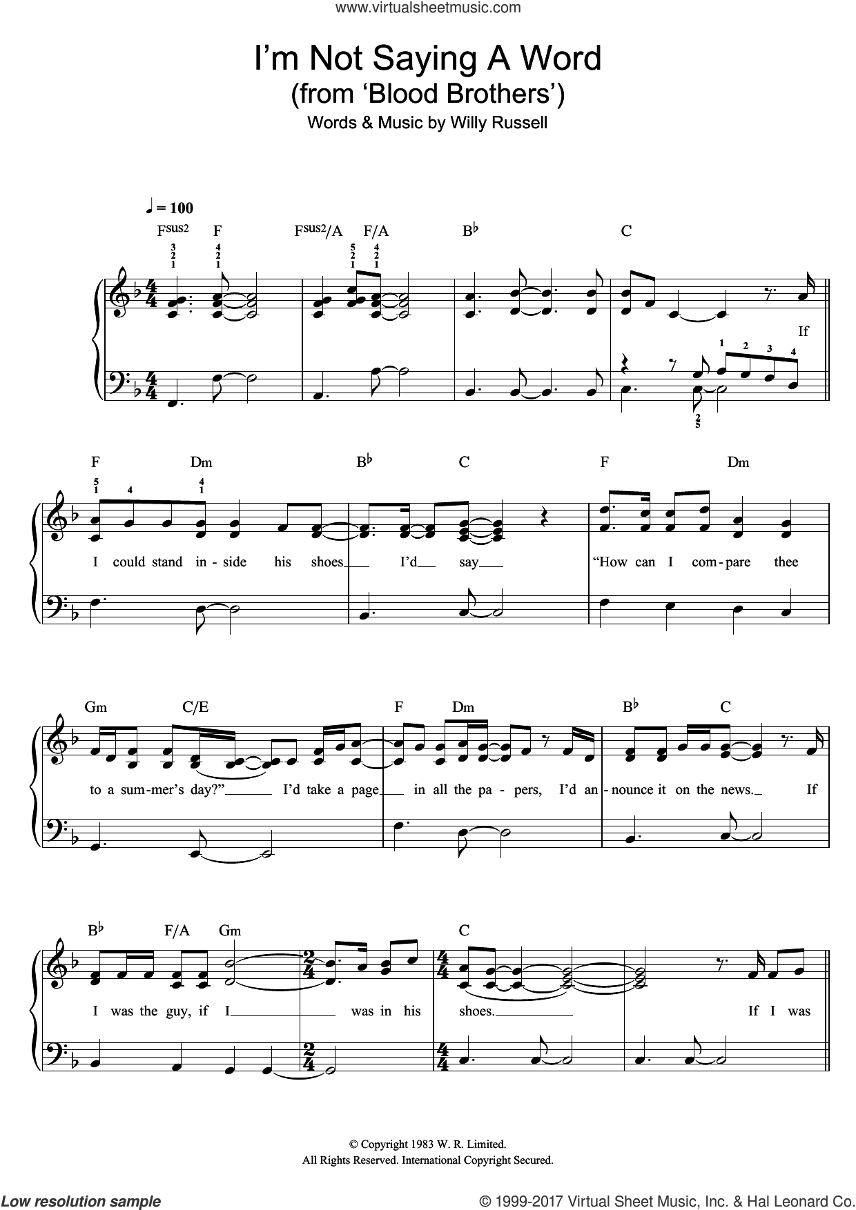 I'm Not Saying A Word (from Blood Brothers) sheet music for piano solo by Willy Russell, easy skill level