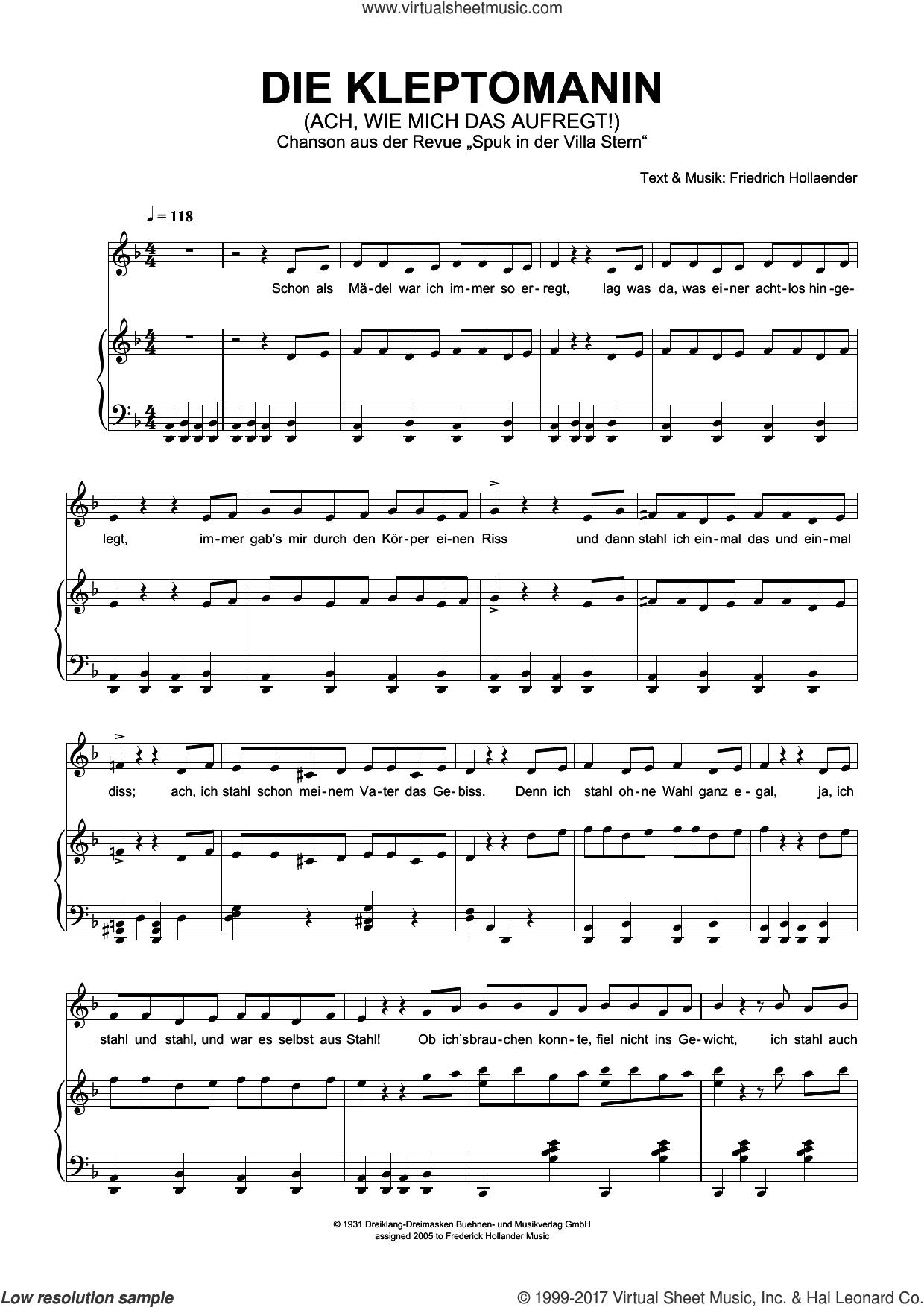 Die Kleptomanin (Ach, Wie Mich Das Aufregt!) sheet music for voice and piano by Friedrich Hollaender, Friedrich Holländer and Friedrich Hollander, intermediate skill level
