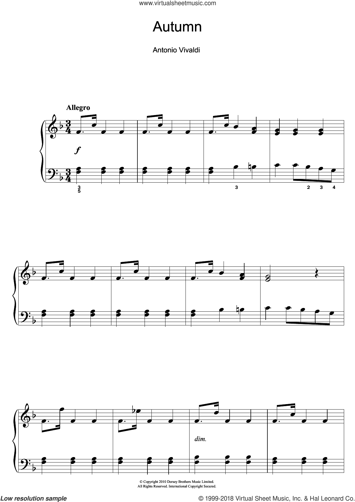 Autumn (from The Four Seasons) 3rd Movement sheet music for piano solo (beginners) by Antonio Vivaldi, classical score, beginner piano (beginners)