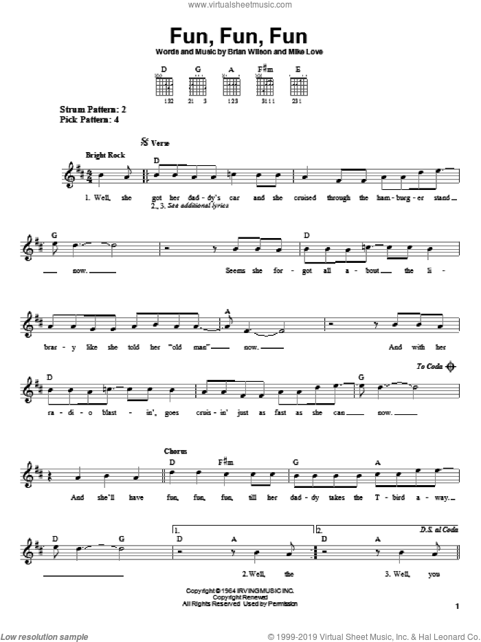 Fun, Fun, Fun sheet music for guitar solo (chords) by Mike Love, The Beach Boys and Brian Wilson. Score Image Preview.