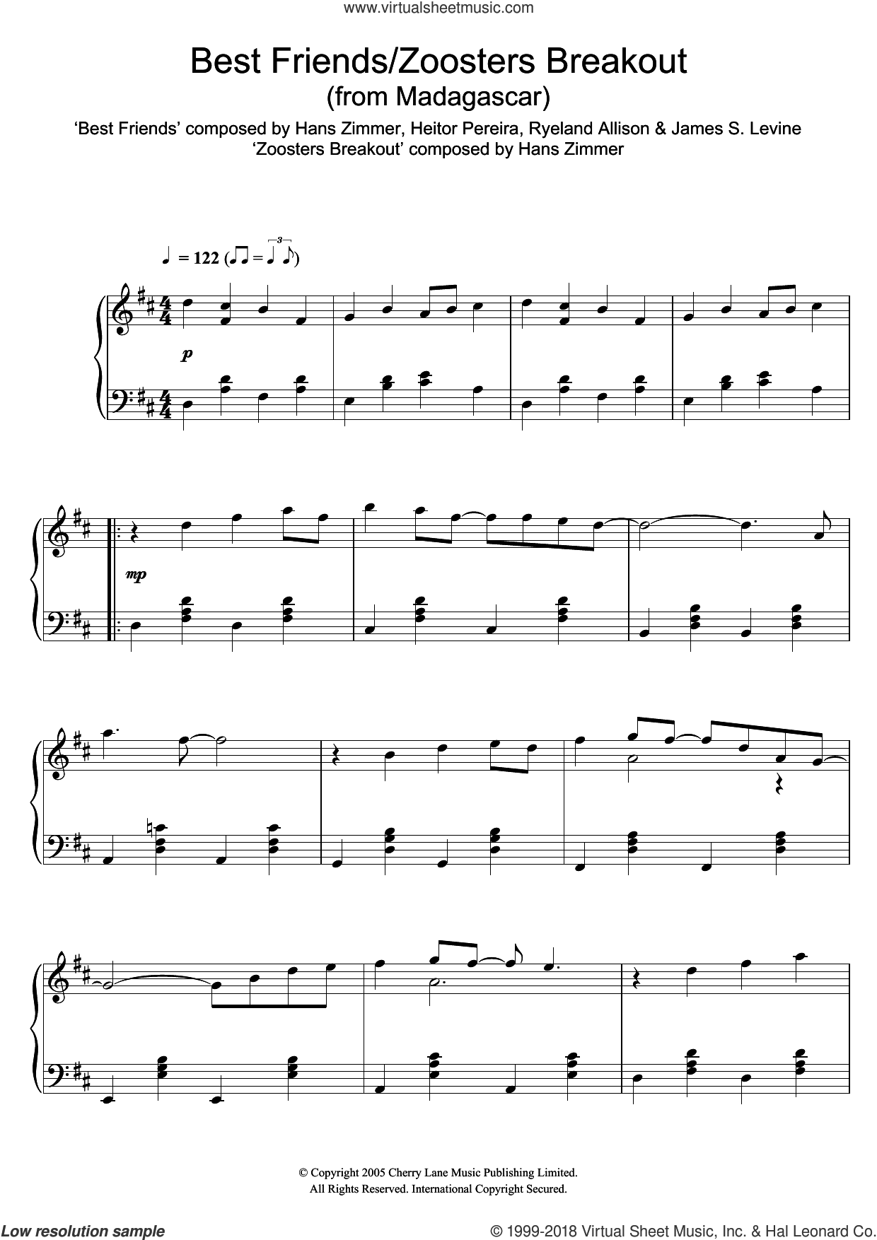 Madagascar (Best Friends/Zoosters Breakout) sheet music for piano solo by Hans Zimmer, intermediate skill level