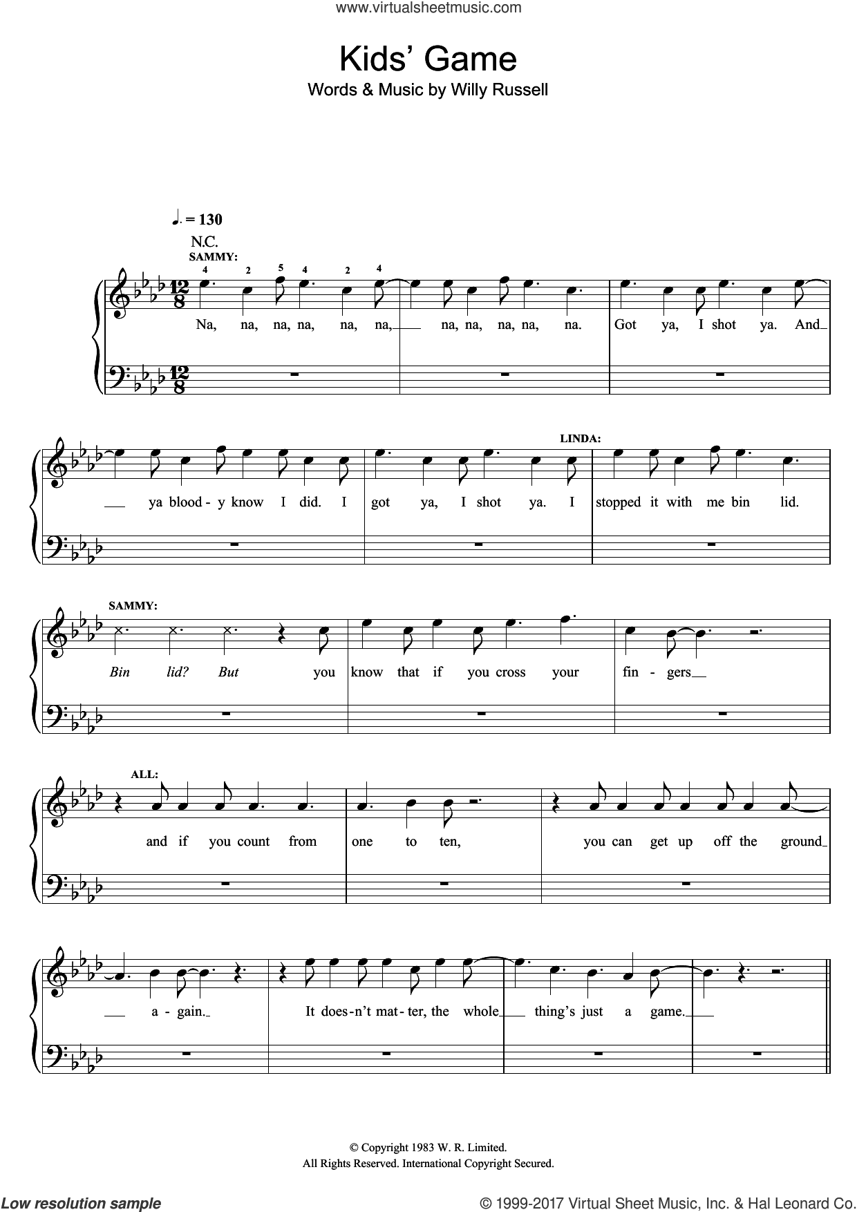 Kids' Game (from Blood Brothers) sheet music for piano solo by Willy Russell. Score Image Preview.