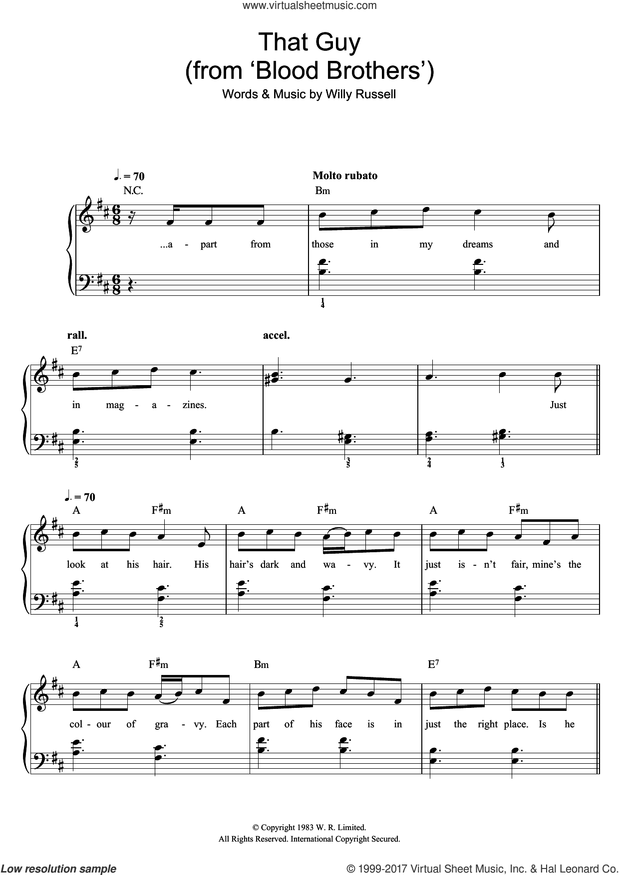 That Guy (from Blood Brothers) sheet music for piano solo by Willy Russell, easy skill level