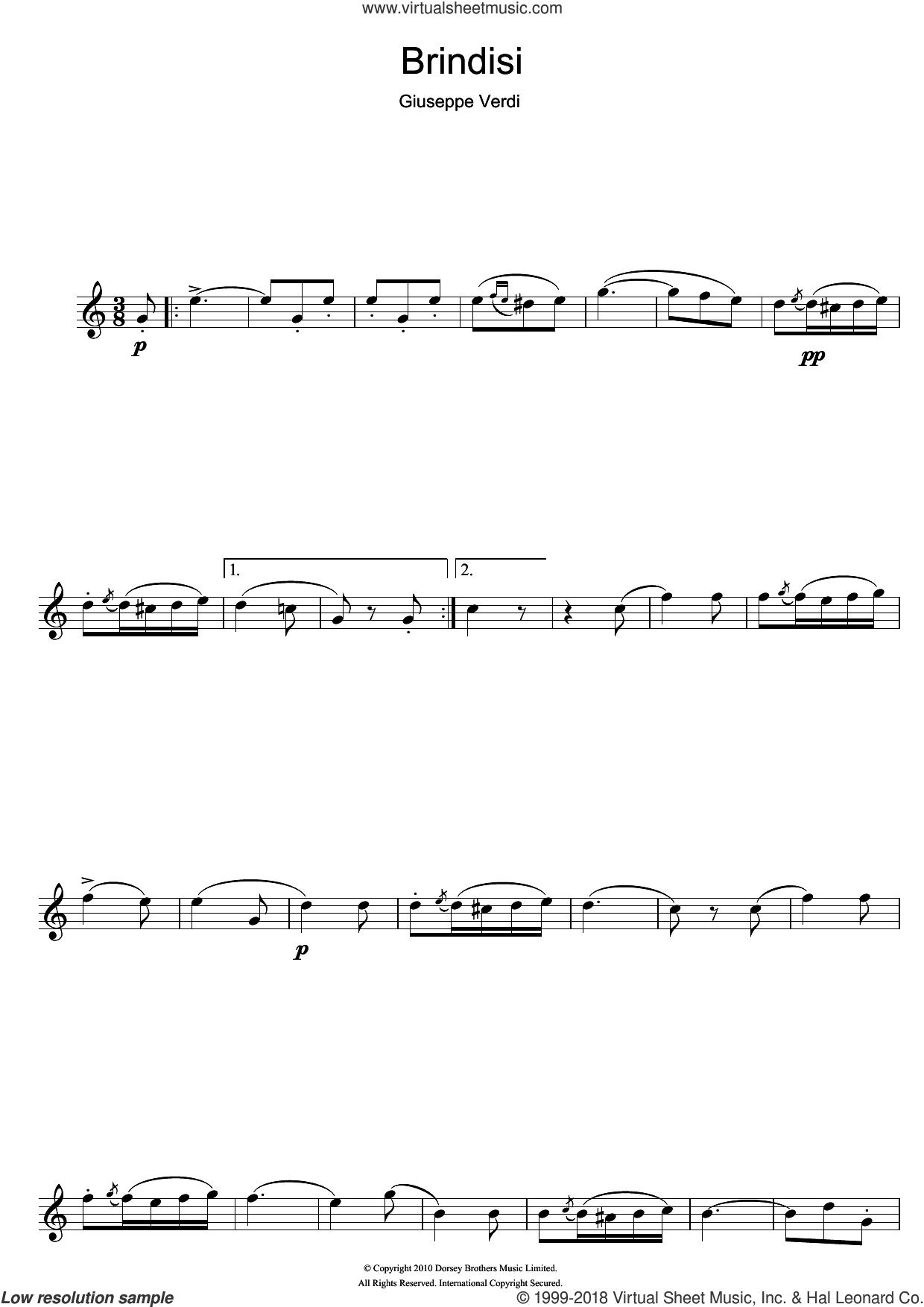 Brindisi (from La Traviata) sheet music for alto saxophone solo by Giuseppe Verdi, classical score, intermediate skill level