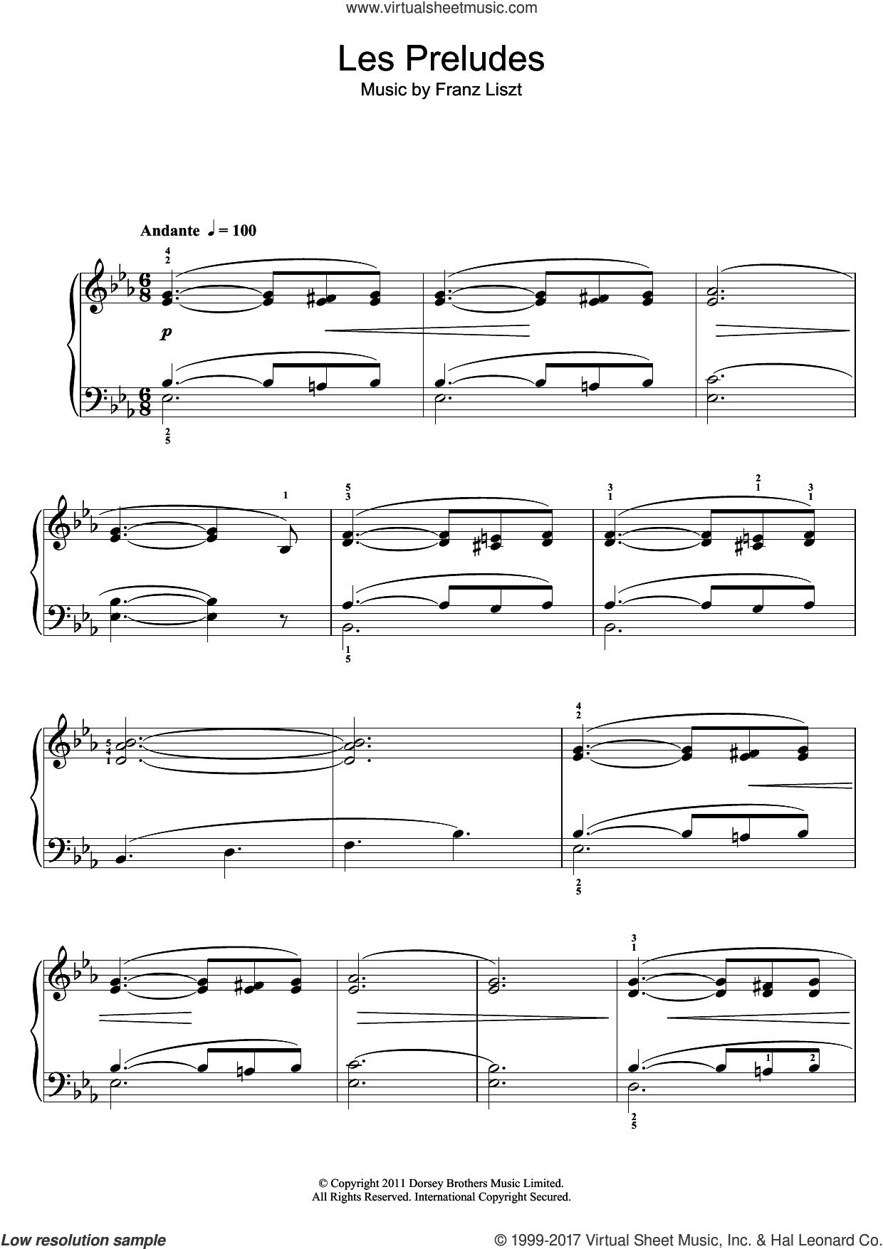 Liszt - Les Preludes sheet music for piano solo [PDF]