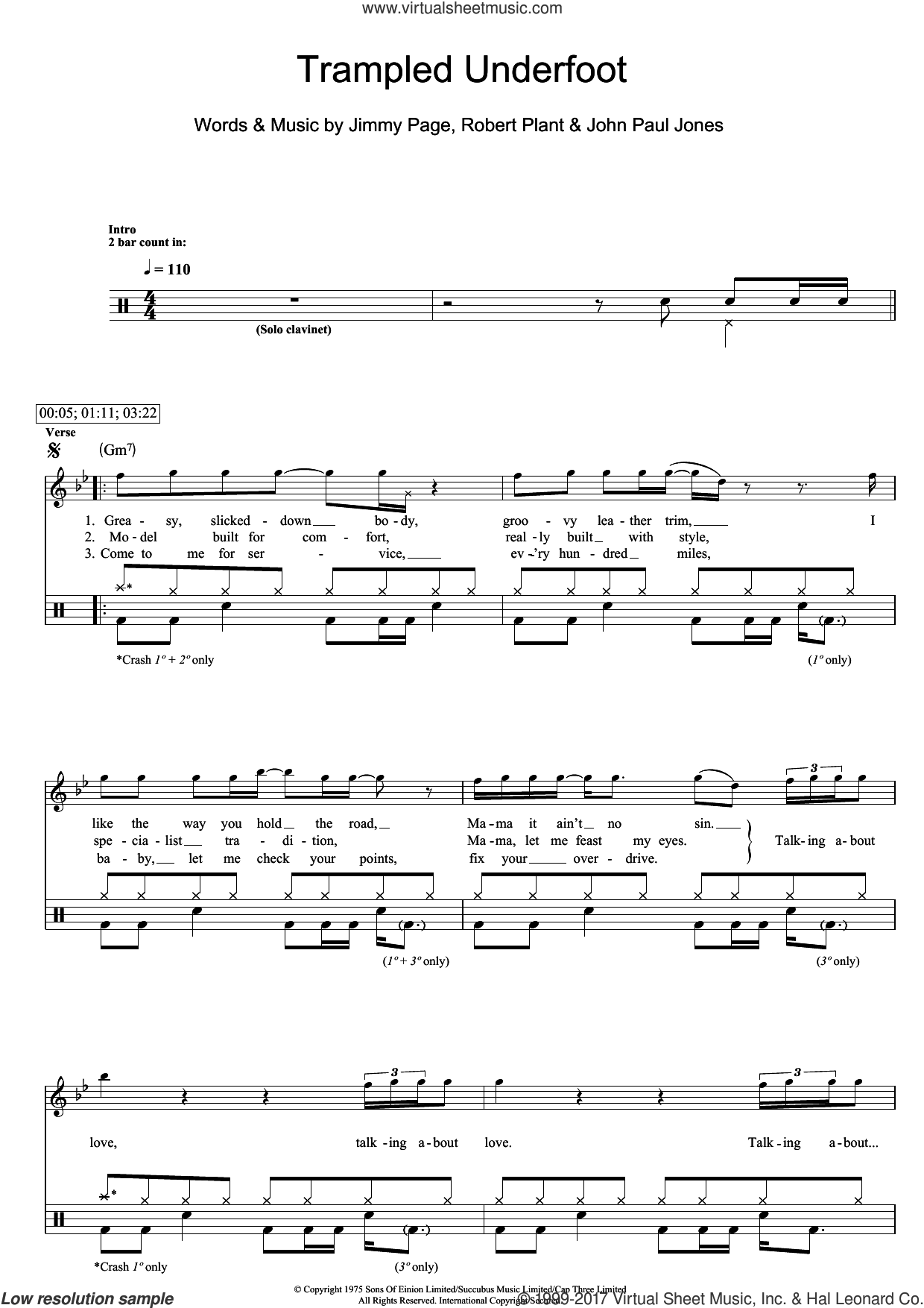 Trampled Underfoot sheet music for drums (percussions) by Led Zeppelin, Jimmy Page, John Paul Jones and Robert Plant, intermediate skill level