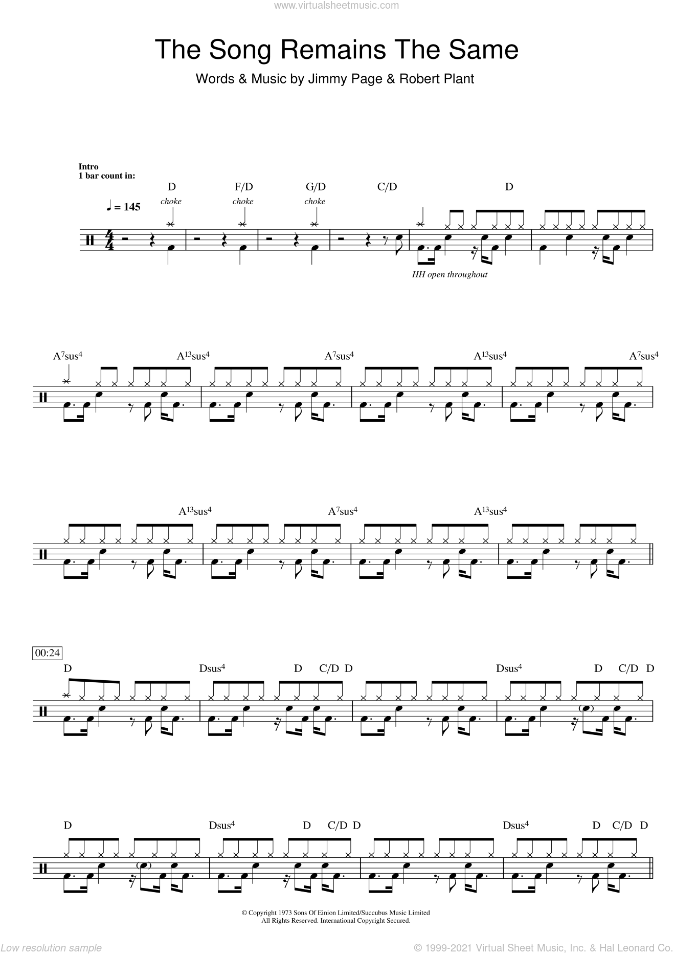 The Song Remains The Same sheet music for drums (percussions) by Led Zeppelin, Jimmy Page and Robert Plant, intermediate. Score Image Preview.