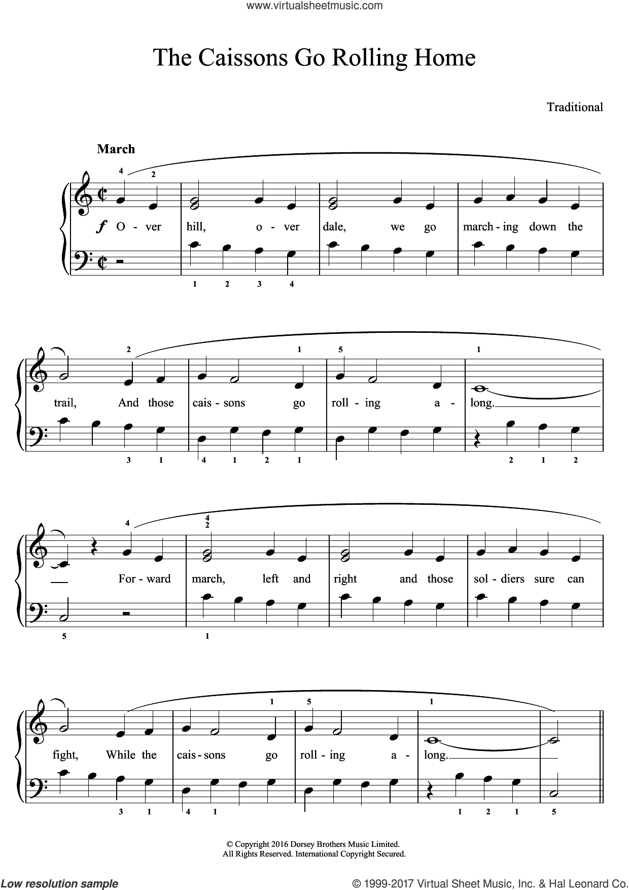 The Caissons Go Rolling Home sheet music for piano solo, easy skill level