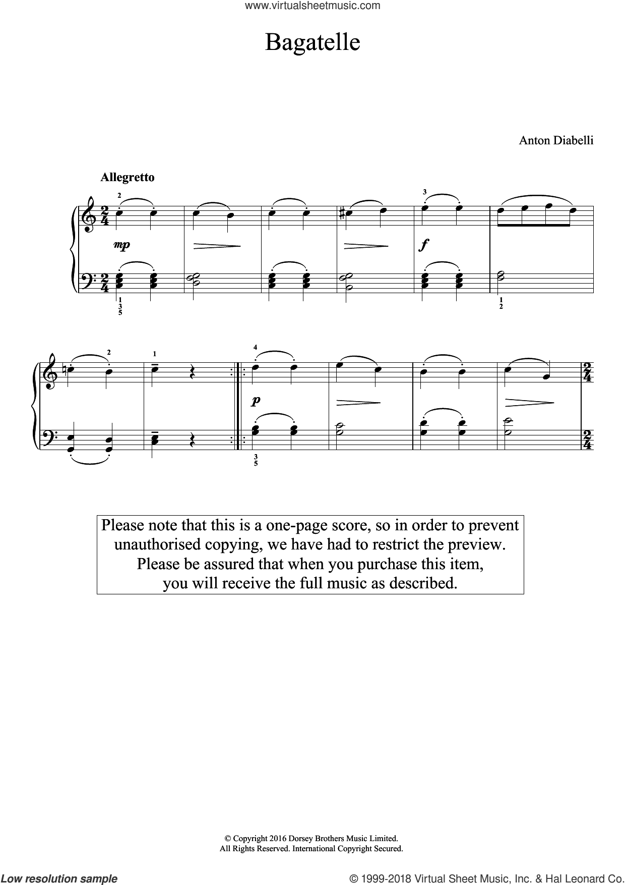 Bagatelle sheet music for piano solo by Antonio Diabelli, classical score, easy skill level