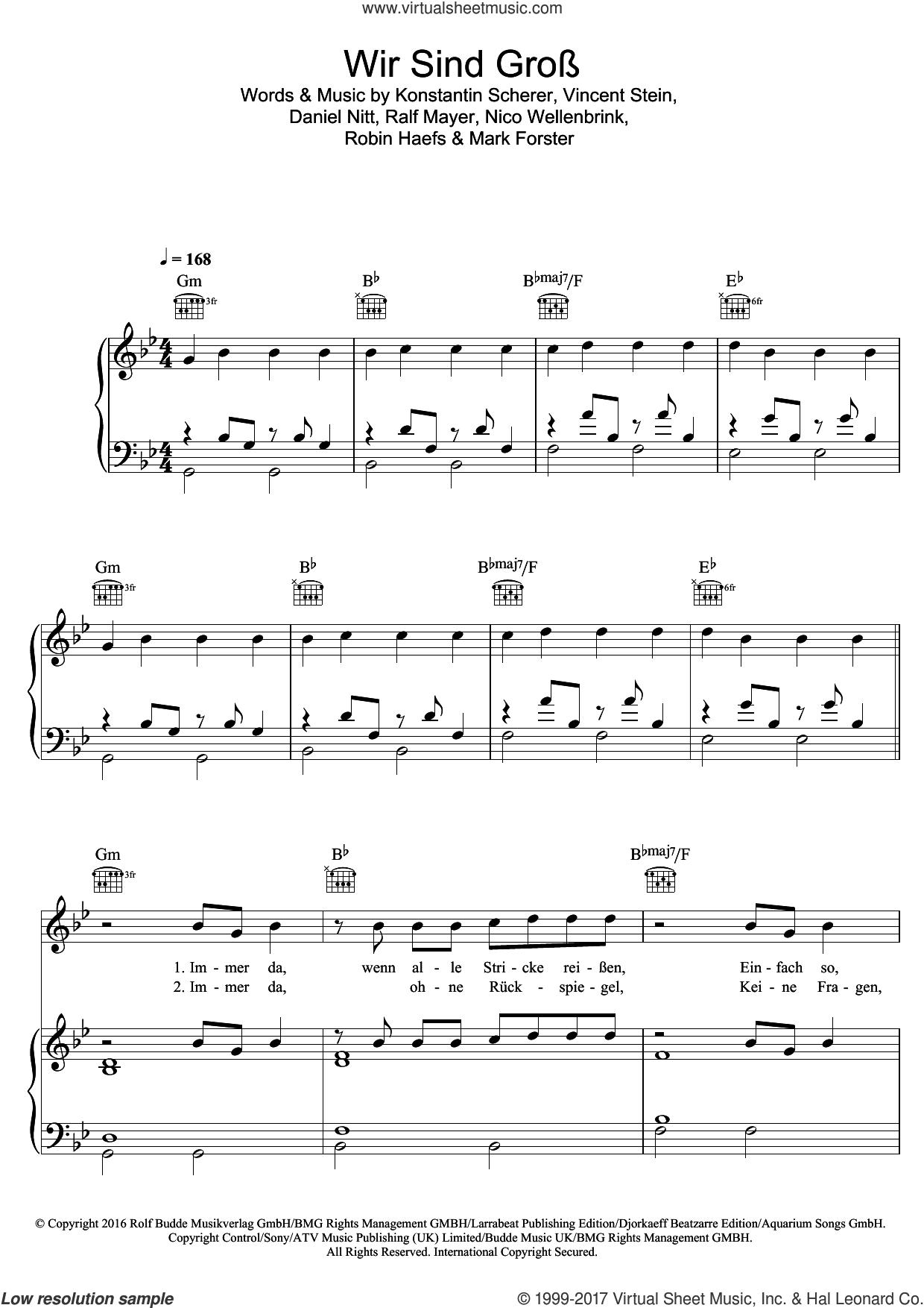 Wir Sind Gross sheet music for voice, piano or guitar by Mark Forster, Daniel Nitt, Konstantin Scherer, Nico Wellenbrink, Ralf Mayer, Robin Haefs and Vincent Stein, intermediate skill level